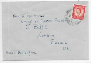 FIELD POST OFFICE COVER 2/8/1955 FPO 121 TO B.B.C LONDON.