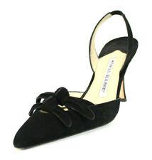 MANOLO BLAHNIK $525 Black Suede Pointed-Toe Heels Slingbacks 37