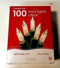 """""""Holiday Time"""" 100 Clear Mini Lights Christmas Wedding Green Wire Decoration"""