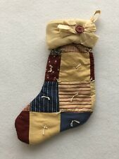 Country Farmhouse Quilt Style Christmas Stocking 12""