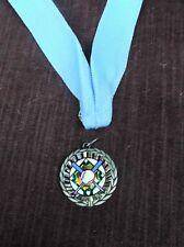 Team Lot Of 12 Gold color insert Baseball medal with blue neck drape trophy