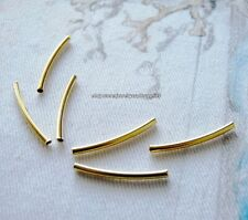 20pcs Gold Curved Tube Beads Long 25mm Elbow Noodle Spacer Beading Bars Metal