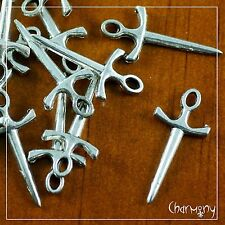 Antique Silver Sword charms ~PACK of 10~ athame dagger 22mm bead pendant