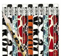 Pack of 12 -  Animal Print Pencils with Erasers - Party Bag Fillers