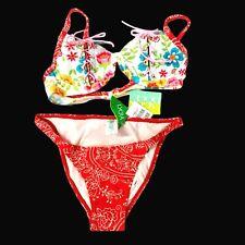 Agua Doc 2 Pc Womens Size Medium Underwire Bikini Top Cheeky Bottoms Floral New