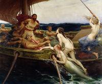 "Oil painting Herbert James Draper - Ulysses and the Sirens men with mermaids 40"""