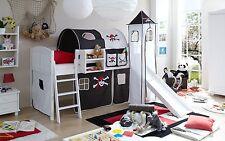 Lit mezzanine avec toboggan et tour EKKI Pin massif teinté blanc tissus Pirate N