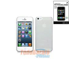 Funda tpu gel + protector para IPHONE 5 5G Blanca transparente