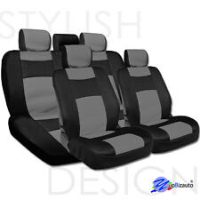 NEW UNIVERSAL SIZE MESH AND SYNTHETIC LEATHER CAR SEAT COVERS COMPLETE SET GREY