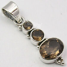 """925 Sterling Silver Real Brown Smoky Quartz Modern Pendant 1.4"""" Jewelry Store"""
