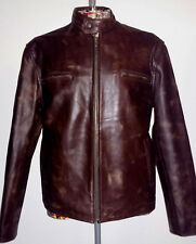Men's Distressed Brown Leather Jacket. Size M.