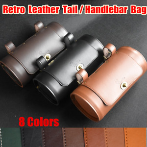 Retro Leather Bycle Saddle Pannier Rear Seat Tail Side Bag Motorcycles Pouch