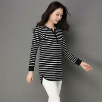 New Cotton Casual Stripe Women V-Neck Long Sleeve T-shirt Loose Tops Blouse 4XL