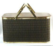 """Vintage 1950's Picnic Basket Brown Woven w/ Brass Handles 11""""h x 20"""" x 12"""""""