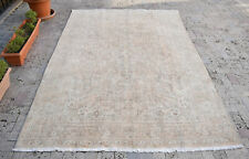 Turkish Oushak Rug 6'2''x9'3'' Vintage Muted Color Floral Oriental Carpet 6x9