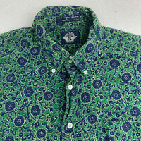 Dockers Button Up Shirt Mens Large Green Floral Short Sleeve Casual