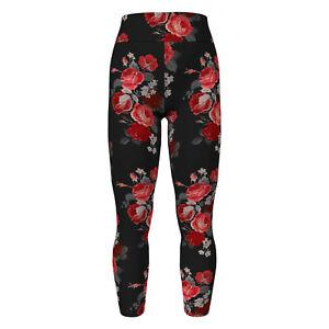 OS LuLaRoe One Size Leggings Amore Valentine 2021 Floral Roses Black F14