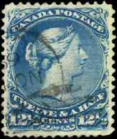 Canada #28 used VF 1868 Queen Victoria 12 1/2c blue Large Queen CDS CV$160.00