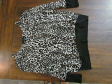 Womens Blouse Size L Long Sleeve Open Cold Shoulder Gray White Cheetah Print Top