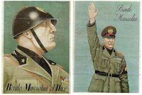 2 WW2 FASCIST FOOD RATION SHEETS w BOLD MUSSOLINI PORTRAITS on BACK! RETAIL $150