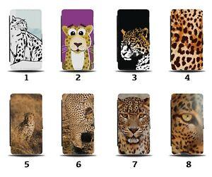 Leopard Flip Wallet Case Leopards Face Animal Cartoon Spots Print Skin 8041d