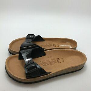 New Birkenstock Slider Sandals UK 5 EU 38 Women's Black Patent One Strap 521199