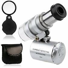KINGMAS Mini 60x Microscope Magnifying with LED Light Pocket Jewelry Magnifier J