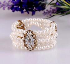 Charming Betsey Johnson Women Gift Multi  layer stretch pearl crystal bracelet