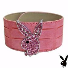 Playboy Bracelet Swarovski Crystals Bunny Pink Leather Cuff Slap Wrap Style RARE
