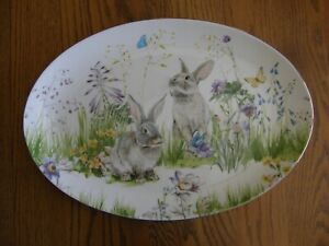 Williams Sonoma Floral Meadow Oval Platter - Easter, Bunny Rabbit, Floral - New