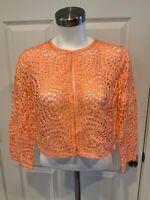 Lafayette 148 New York Peach Cardigan Sweater, Size Medium