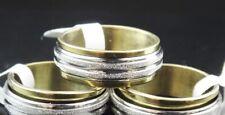 Stainless Steel Gold Silver Spinner Men Women Ring Non Tarnish Size 22