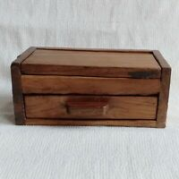 Wooden Box Storage Mini Draw Vintage Trinket Jewelry Coin Holder Hand Carved