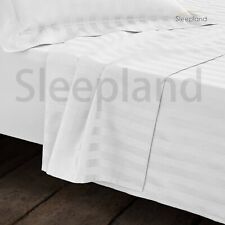 300TC 100% EGYPTIAN COTTON FITTED SHEET SATIN STRIPE SUPER KING WHITE 5*