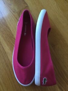 Lacoste Marthe size 8( USA) Pink White Canvas Womens Slipons Shoes