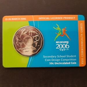 2006 Australian 50c Commonwealth Games Student Design Carded Coin
