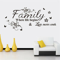 familia donde la vida comienza y el amor nunca termina pared calcomanía decorQA
