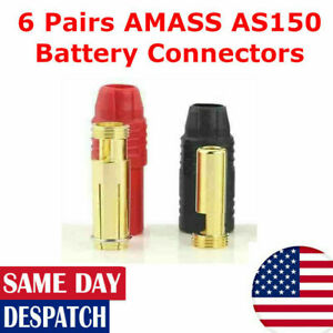 6 Pairs AMASS AS150 7mm Lipo Battery Connectors Car RC Drone DJI Red/Black 150A