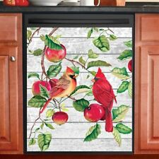 Lovely Cardinals and Apples Kitchen Dishwasher Cover Magnet