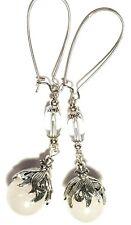 Very Long Silver White Earrings Natural Agate Gemstone Bead Drop Dangle Pierced