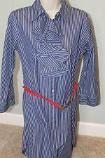 RALPH LAUREN Womens Medium Navy Striped Dress with belt, FREE SHIP!