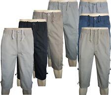 Mens Classic 3/4 Shorts Cargo Combat 100%Cotton Elasticated Black Short M to 3XL