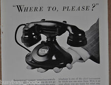 1933 AT&T Bell Telephone advertisement, photo of WESTERN ELECTRIC 202 desk phone