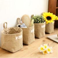 Mini Cotton Linen Hanging Storage Basket Bag with Handle Home Sundries Organizer