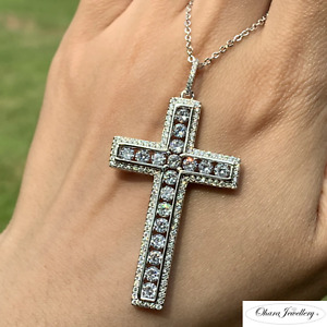 925 Solid Sterling Silver Large Cross Cubic Zirconia Pave Necklace Jewellery Uk