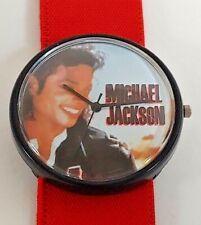 Vintage Michael Jackson Wrist Watch Black Red Wrist Band Face Portrait Rare 1980