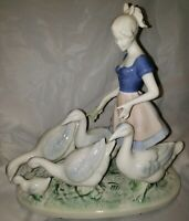 Vintage Gerold Porzellan #7048 Figurge Blue & White Girl with Geese & Ducks 11""