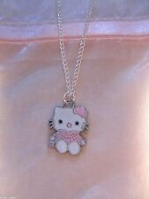 Brand New Hello Kitty Cat Pink Pendant on Silver Plated Necklace in Gift Pouch