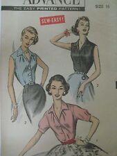 Vtg 50s Advance 8511 SHIRTWAIST BLOUSE SLEEVES ~ SLEEVELESS Sewing Pattern Women