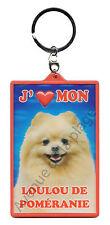 """Porte clé 3D """"J'aime mon Loulou de Poméranie"""" chien idée cadeau pas cher NEUF"""
